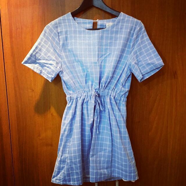 水藍色格子洋裝