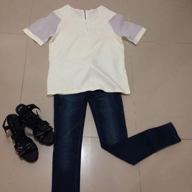 個性白色上衣紗網袖/刷色顯瘦口袋抽鬚牛仔褲/二手