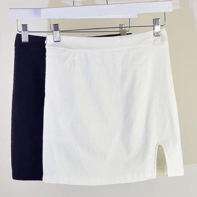 [韓版氣質開衩高腰包裙]黑/白