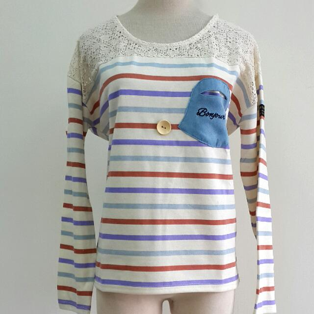 日系款 米白蕾絲條紋上衣