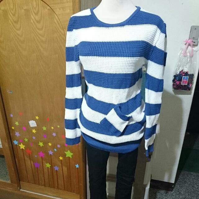 條紋毛衣 藍白