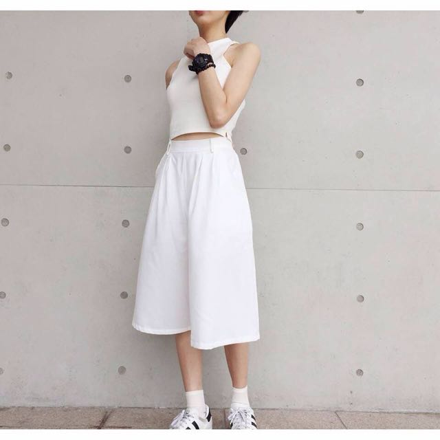 保留💕💕六分寬褲裙  白色(per購入)