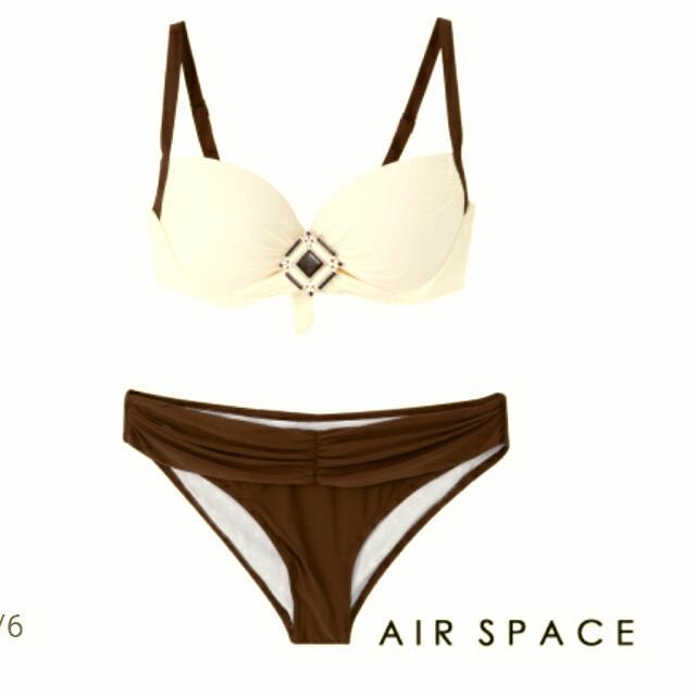 AIR SPACE 胸前寶石配色比基尼/咖啡色/L/時尚