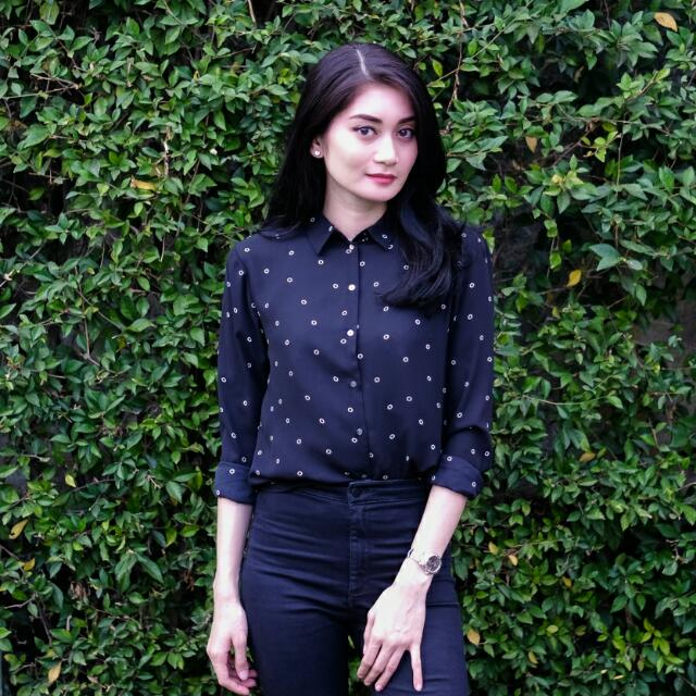 H&M Black Polcadot Shirt