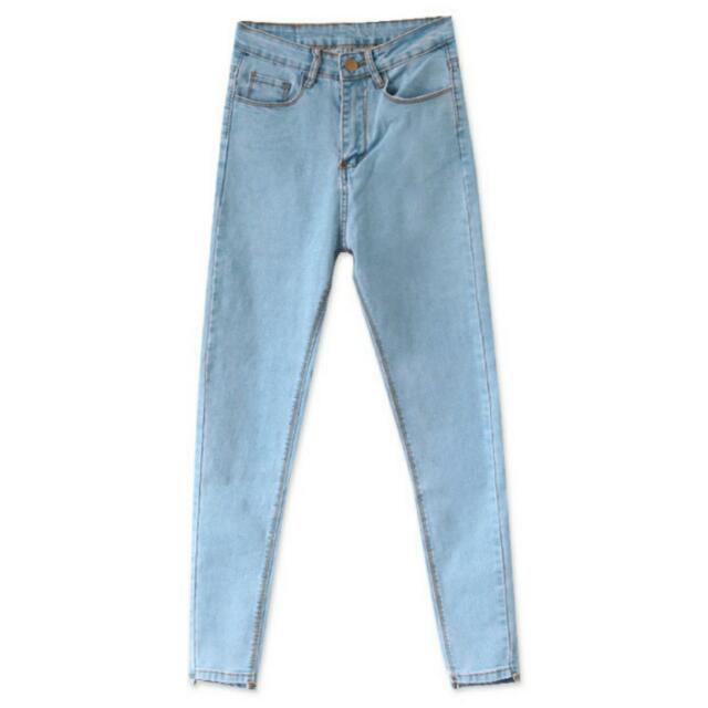 (全新)轉賣Mooncat貓咪曬月亮 淺色窄管褲