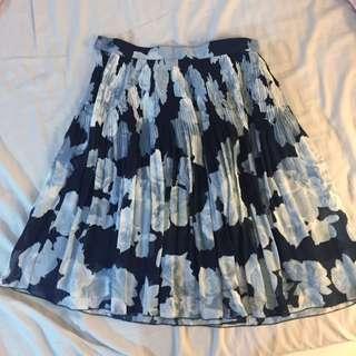 古著 二手 細摺 美裙 玫瑰 🌹及膝裙 短裙