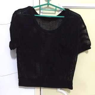 流行洞洞黑色罩衫