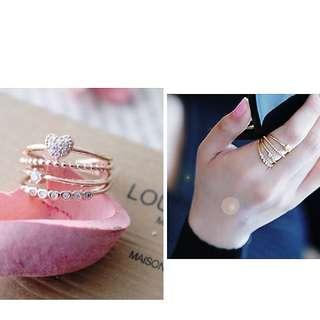 韓國流光穿梭四層愛心水鑽戒指