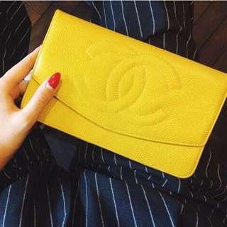 日本代購—Vintage Chanel 長夾 黃 黑
