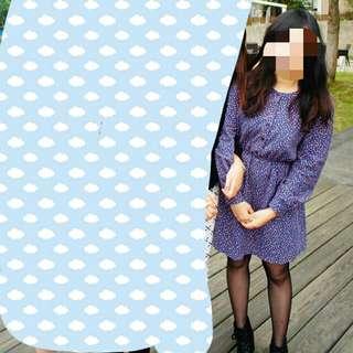 二手 大降價 韓國帶回紫色小碎花春秋洋裝 含運