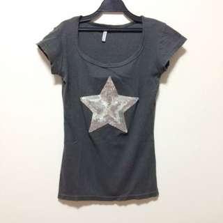 韓製羅紋亮片星星上衣