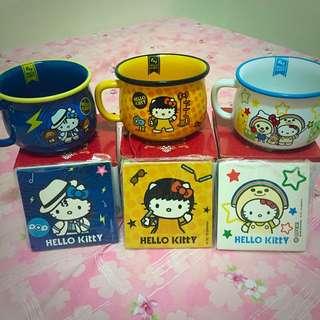 Hello Kitty 仿琺瑯造型杯碗組
