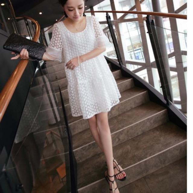 特價韓版寬鬆顯瘦刺繡歐根紗洋裝