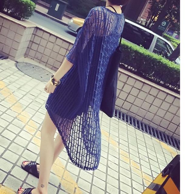 韓版純色個性鏤空不規則寬鬆針織罩衫藍色藏青白色