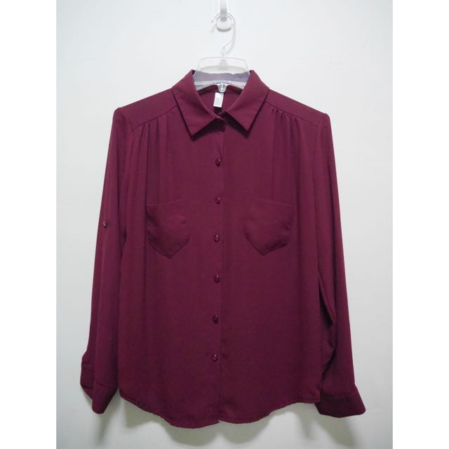 韓製🇰🇷氣質雪紡上衣襯衫  酒紅 袖子可反折固定