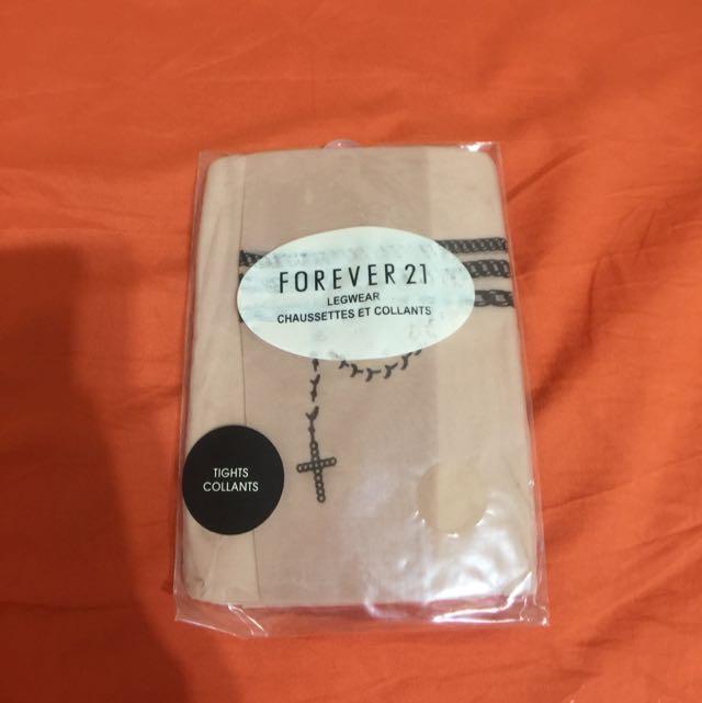 Forever21刺青感膚色褲襪