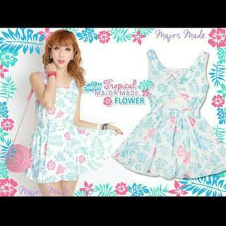 MJR 熱帶花葉露肩蝴蝶結雪紡背心洋裝