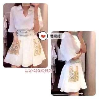 全新。連身短洋裝。白。付腰封