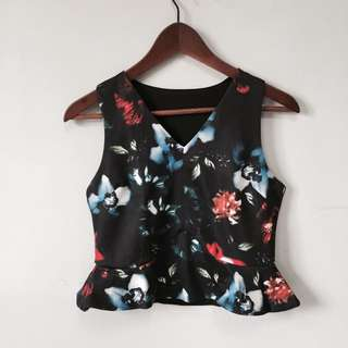 BN Black Floral Sleeveless Crop