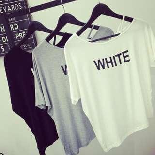 1882*夏季新款女裝簡約字母印花寬松顯瘦個性露肩短袖T恤