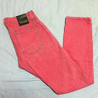 Penshoppe Carrot Fit Slim Pants Pink Size 32