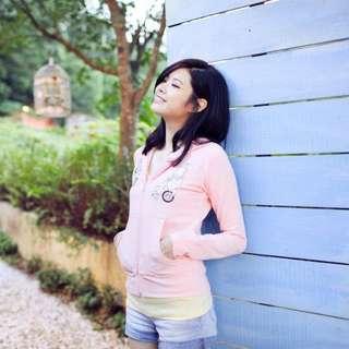 Lazybone 粉色連帽外套 M號