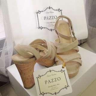 pazzo 麂皮綁帶軟木底跟鞋