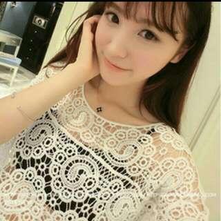 【現貨特價】韓版氣質百搭蕾絲鉤花鏤空罩衫白色