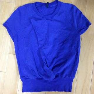 降價!5成新 United Benetton寶藍色棉質短袖上衣