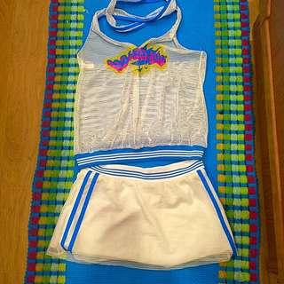 外罩式上衣+裙泳裝