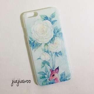 [荔枝紋手機殼] iPhone 5 5S 6 --- 森林系白玫瑰小鹿