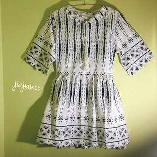無袖寬鬆學院風短版棉質洋裝