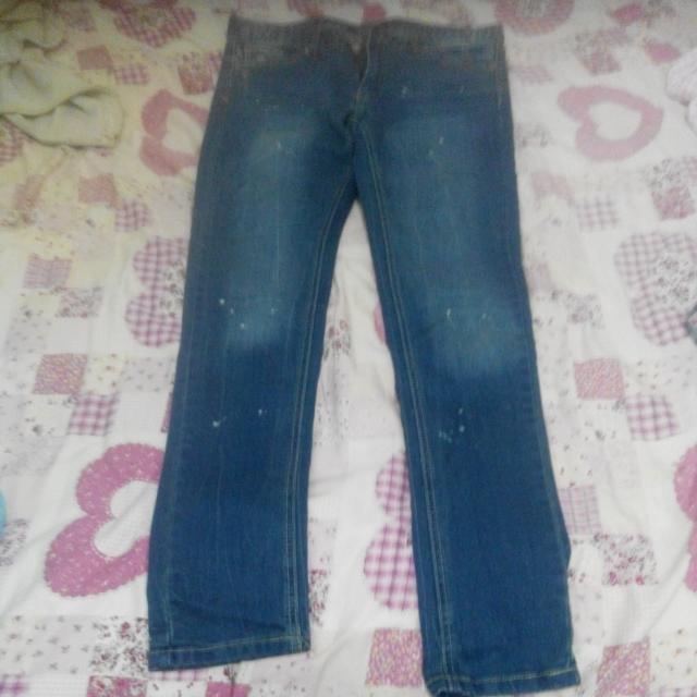 復古藍潑漆窄管牛仔褲
