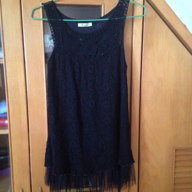 Catworld無袖黑色蕾絲洋裝-代售