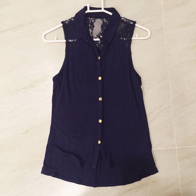 歐美 韓 基本夏季款式 深藍色蕾絲小可愛