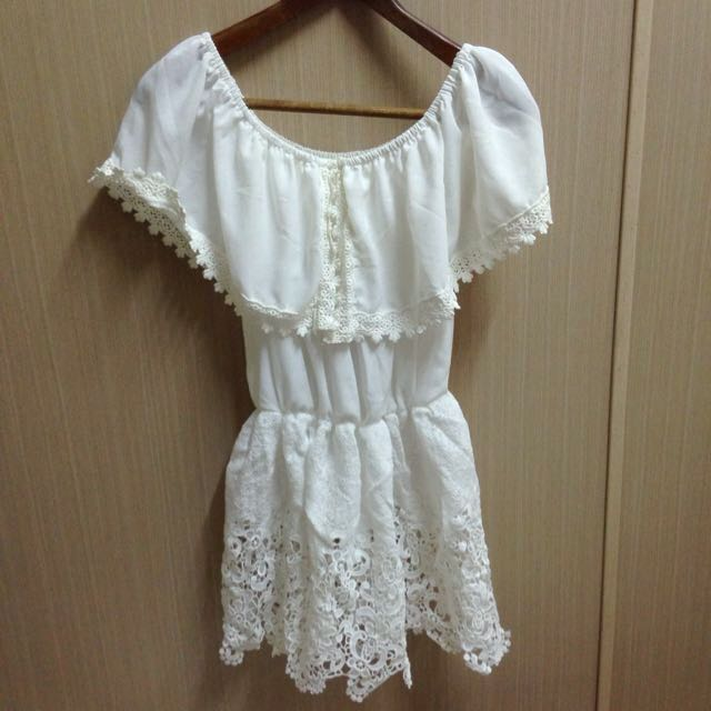 全新正韓 純白勾花蕾絲 洋裝