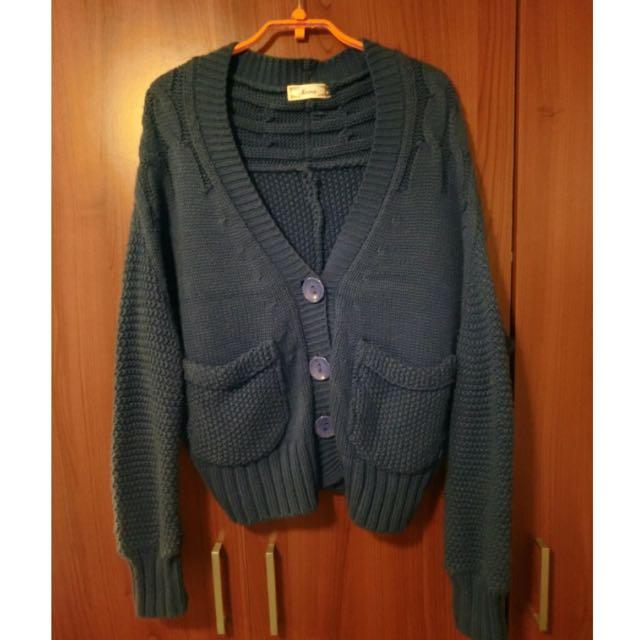 藍色 毛衣 外套