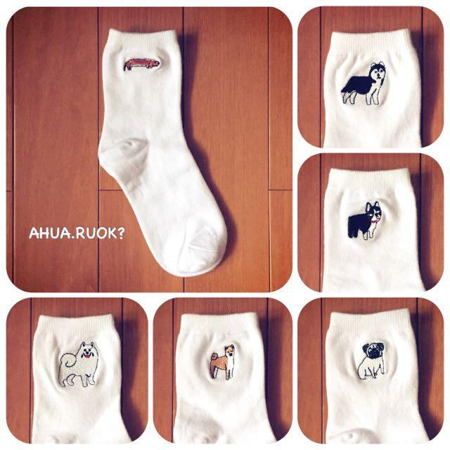 日本刺繡狗狗素色純棉襪♥️ 短襪子 中筒襪 長襪 可愛 卡通 動物 復古 條紋襪 運動襪 阿華有事嗎