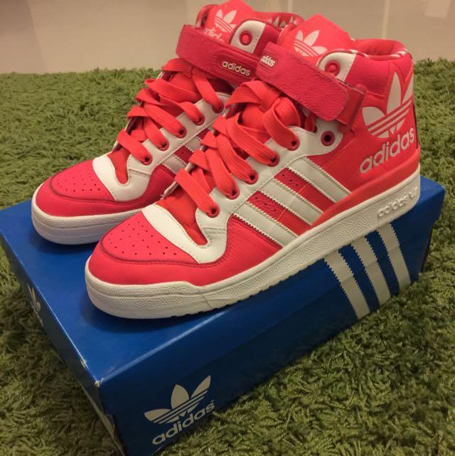 Adidas original 螢光橘色極新高筒球鞋