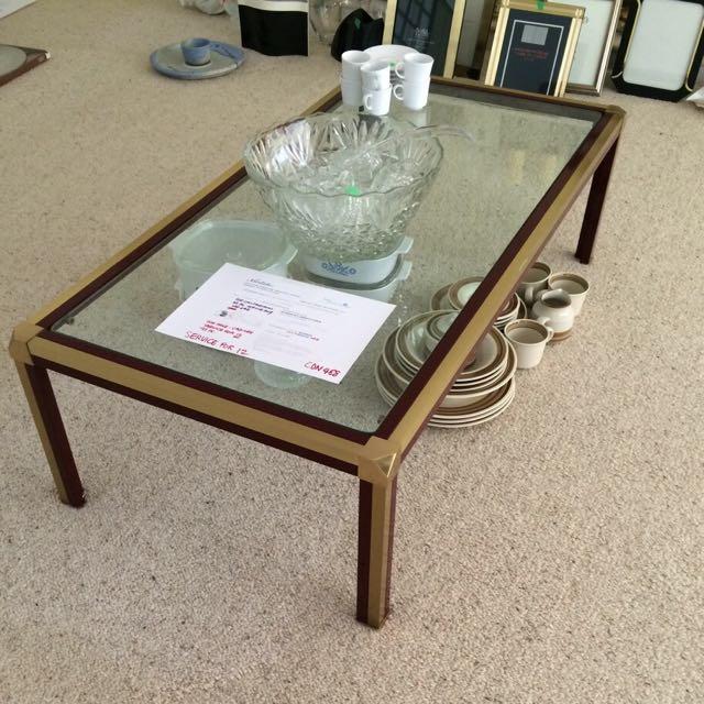 Elegant Brass, Metal & Glass Coffee Table