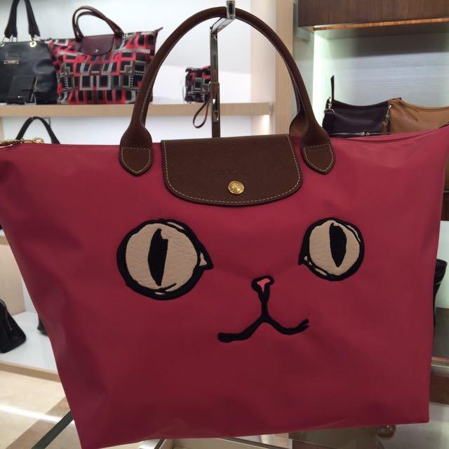 Longchamp 貓咪短提袋包