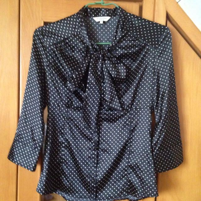 NET黑底白點襯衫-代售