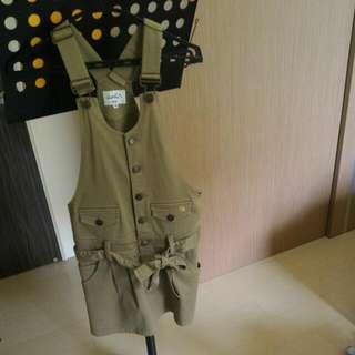 雨傘牌 墨綠吊帶短裙