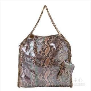 Stella McCartney Falabella 咖啡色亮面蛇紋兩用鏈帶包(中)