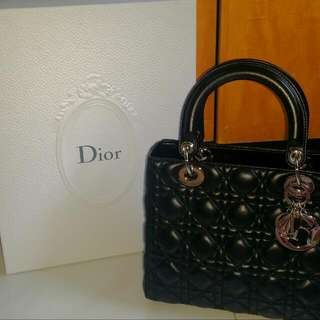 Authentic Lady Dior In Black Lambskin With Silver Hardware
