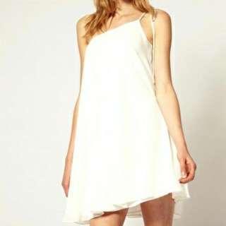 ASOS Tie Strap One Shoulder Dress - Cream /