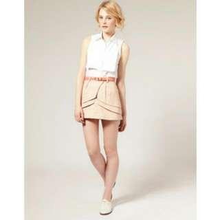 ASOS Layered Fold Mini Skirt - Nude