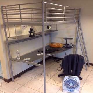 IKEA TROMSO 單人高腳床架.書桌+送辦公椅