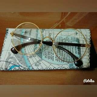 正韓鏡框眼鏡-金屬細圓框附韓國皮套