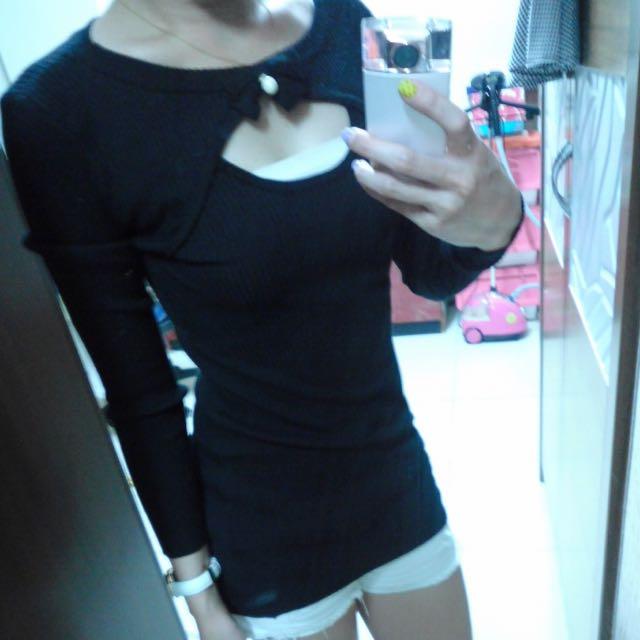(全新)黑色蝴蝶結洋裝